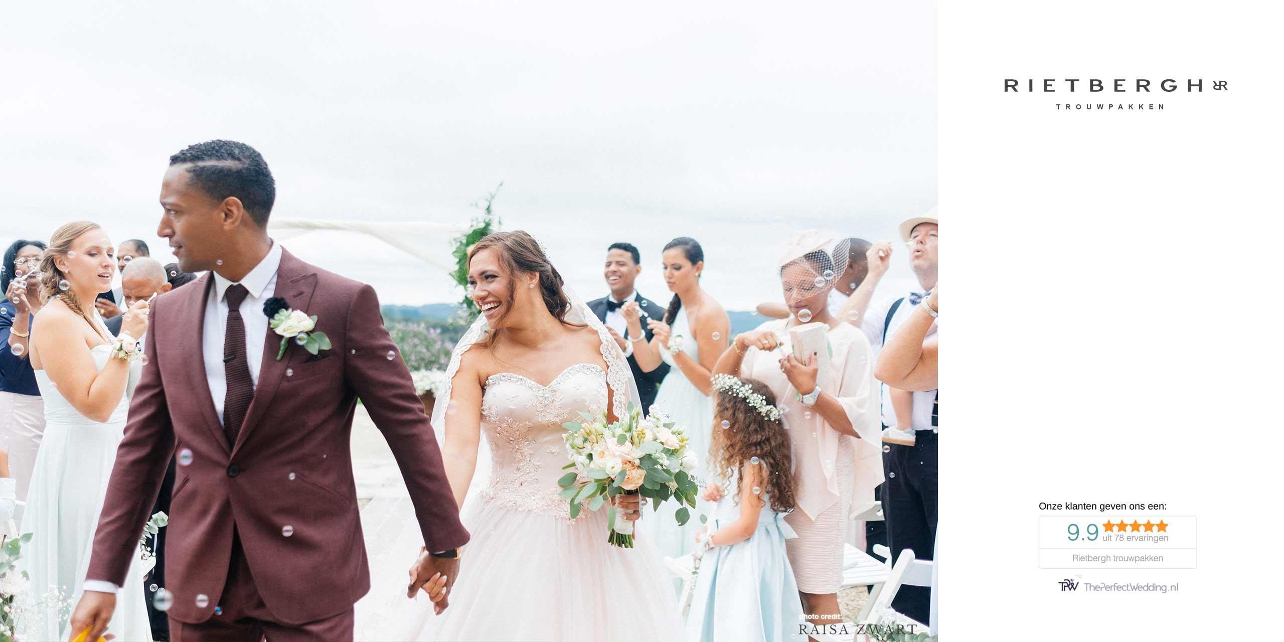 Eder in een burgundy trouwpak van Rietbergh